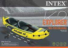 Intex Explorer K2 2 Person Inflatable Yellow Kayak Aluminum Oars and Air Pump