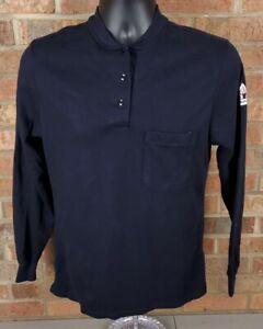 BULWARK FR Long Sleeve Blue Pocket Shirt SMALL