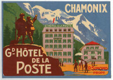Early 1930's Chamonix France Luggage Label - NEAR MINT