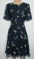 New Hobbs Navy Butterfly Print Cecily Fit & Flare Dress Size 12