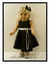 Black Satin & Lace Party Dress fits American Girl Doll