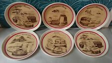 6 assiettes à fromage en grès Vintage / dessins Les Fromages et leurs régions