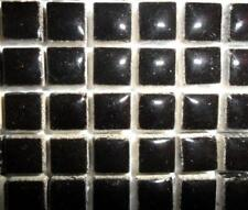 81 Mini Glazed Ceramic Mosaic Tiles 10mm - Black