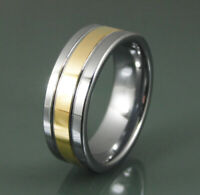 Tungsten Carbide Ring 8mm Polished Gold And Silver Wedding Band Male Or Female