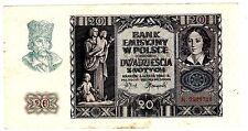 Pologne POLAND Billet 20 ZLOTYCH 1940 WWII P95 GERMANY OCCUPATION BON ETAT