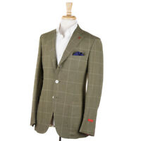 NWT $3495 ISAIA Leaf Green Check Cashmere-Wool-Cotton Sport Coat 38 R (Eu 48)