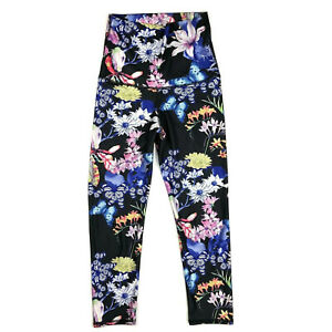 Emily Hsu Leggings womens S Black High Rise Floral Butterfly Print Yoga Active