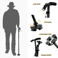 New Adjustable Height Folding LED Walking Stick Cane 4 Head Pivoting Trusty Base