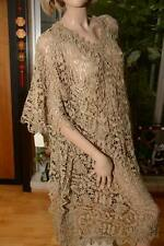 Lim'S Classic Rosette Cotton Hand Crochet Kaftan Dress Taupe One Size