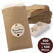 WeddingTree 100 Freudentränen Taschentücher Tüten inkl. Sticker - Gestgeschenke