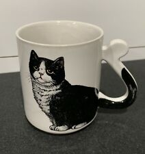 Cat Coffee Mug Tea Mug White with Cat Tail Handle JAPAN