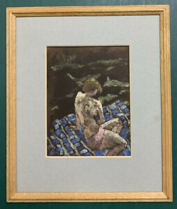 French Mid Century Modernist Oil On Board Painting Portrait Of A Nude Lady