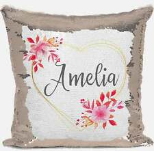 Personalised Floral Any Name Magic Reveal Gold Sequin Cushion Cover Gift 16