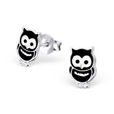 Girls Sterling Silver Owl Stud Earrings Black Kids Cute Studs Genuine 925