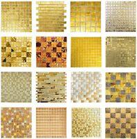 Goldmosaik Glasmosaik Fliesen GELB GOLD glitzer glänzend Struktur WAND - PIEMONT