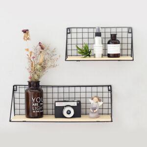 Iron Metal & Wood Wall Floting Shelves Shelf Industrial Modern Storage Hallway