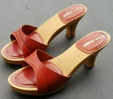 Vtg 70's Wood Platform Sandals 6 Heels Open Toe Bare Traps Leather Cfm Shoes