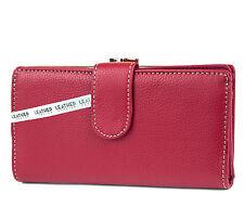 New Mundi® Genuine Leather Bi-Fold w/ Kiss-lock Coin Compartment - Azalea
