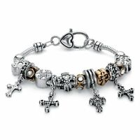 "Gold Tone & Silvertone Crystal Bali-Style Inspirational Cross Charm Bracelet 7"""
