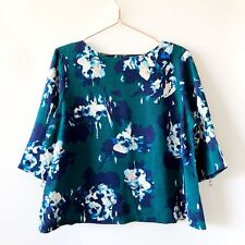 Dorothy Perkins Green Floral Autumn Blouse Top UK18 Smart Work Party 3/4 Sl