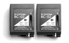 2pk BC-02 Black Ink for Canon BJC 1000 1010 150 210 240 250 251 255 Printers