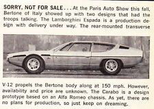 1969 LAMBORGHINI  ESPADA  ~  GREAT ORIGINAL SMALLER NEW CAR INTRO ARTICLE / AD