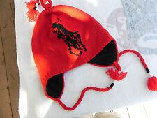 NEW RALPH LAUREN POLO SKI SNOW HAT/CAP EAR FLAPS LAMBS WOOL BIG PONY RED 1 SIZ