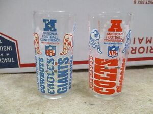 Lot (2) Vintage 1976 Welch's NFL Collector Series Glass AFC NFC JUICE GLASSES