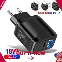 20W Fast Quick Charge PD Type-C USB QC 3.0 Wall UK/EU/US Plug Charger Adapter