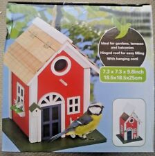 garden bird house  wooden color blue and red  7.3 x 7.3 x 9 inches