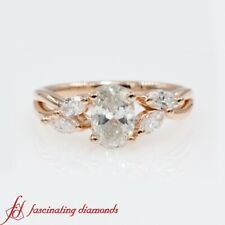 1 Ct Oval Shape Diamond Twisted Rose Gold Engagement Ring With Marquise Accents