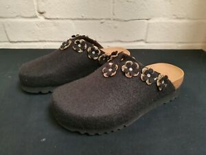 New Scholl Henriette Mule Slippers in Black & Gold UK4 EU37 RRP £54