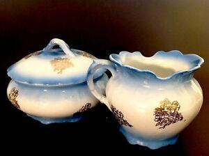 ANTIQUE VANITY SET FENIX BLUE GOLD DESIGNS TRINKET BOX SHAVE CUP SMITH PHILLIPS