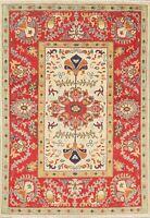 Super Kazak Geometric Oriental Area Rug WOOL Hand-Knotted Carpet IVORY 4' x 6'