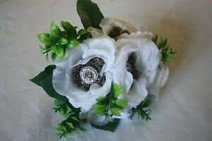 White Satin Rose Flower Bouquet with Silver Jewels and White Ribbon Wedding