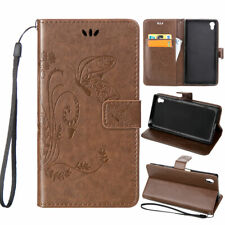 For Sony i7 Hybrid Rubber Card Pouch Wallet Leather Flip KickStand Case Cover