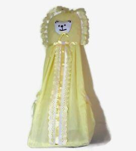 Diaper Holder Storage Hanging Bear Girls Fabric Yellow Nursery Decor lace trim