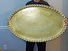 "Vintage Large Brass Oval Tray Table Top Wall Hanging 46 1/2"" Mid Century"