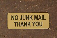 NO JUNK MAIL THANK YOU Sign Letterbox, Mailbox Gate, Fence, Door & Wall Security