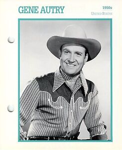 """Gene Autry 1950's Actor Movie Star Card Photo Front Biography on Back 6 x 7"""""""