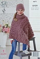 KNITTING PATTERN Girls/Ladies Polo Neck Multi Cable Poncho and Hat Aran KC 4671