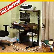 mobile computer desk furniture tower with shelf table laptop study brown