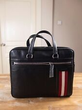 BALLY of Switzerland black leather briefcase bag with stripe authentic - NWT