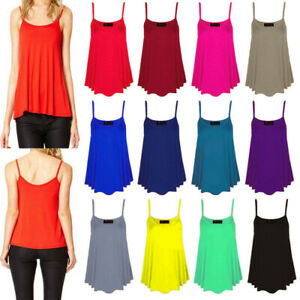 Womens Ladies Cami Vest Top Sleeveless Swing Strappy Plain Top UK Size 8-26