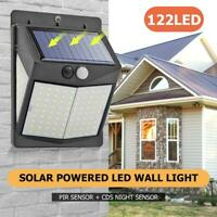 122LED Solar PIR Motion Sensor Wall Way Light 3 Modes Outdoor Garden Street Lamp