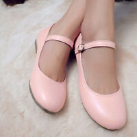 Women's Round Toe Flat Pumps Mary Jane Buckle Sweet Moccasins British Boat Shoes