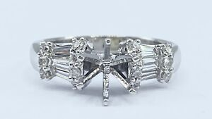 .50 ct DIAMOND semi mount solitaire engagement ring 18k white gold (VIDEO)