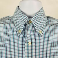 Bills Khakis Classic Fit Mens Blue Light Blue Check Dress Button Shirt Sz Medium