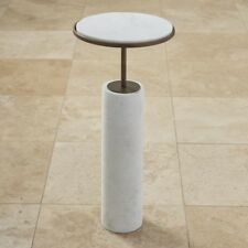 """24.5"""" Tall Apple Table Solid White Marble Cylinder Base Solid Brass in Bronze"""