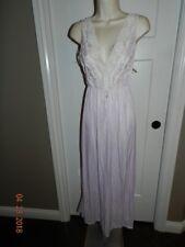NWT M vintage Spotlight long Lavender White NYLON nightgown GODDESS bodice LACE